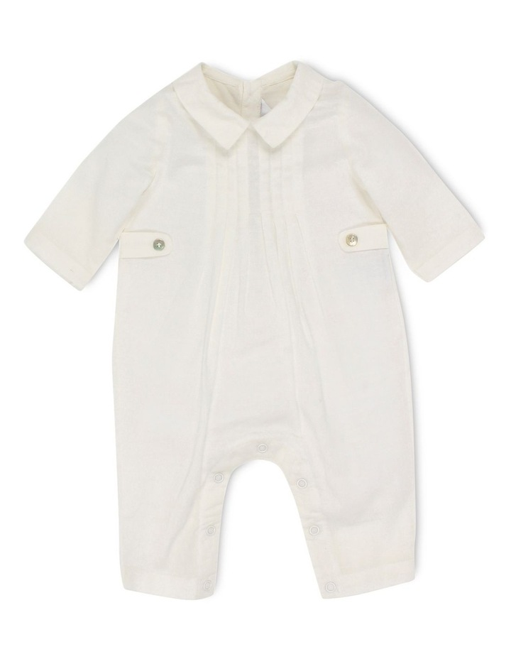 Boys Long Sleeve Woven Romper W Tucks image 1