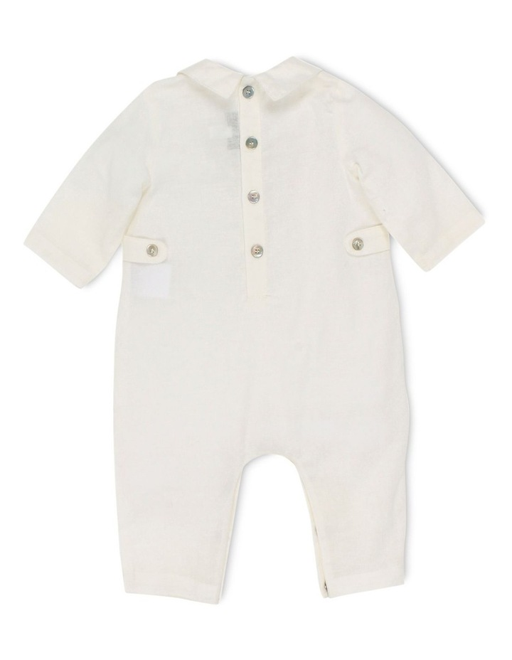 Boys Long Sleeve Woven Romper W Tucks image 2