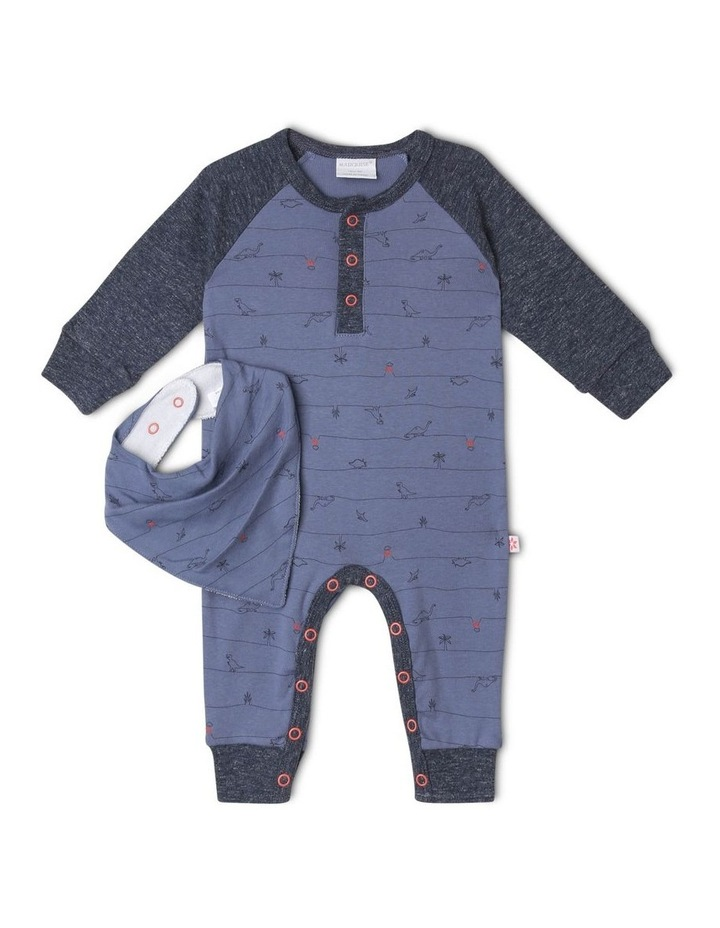 Footless Dinosaur Romper and Bib Set image 1