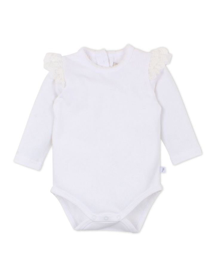 Netting Cream Ruffle Bodysuit image 1
