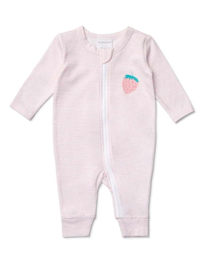 Girls Zipsuit Stipes And Strawberry image 1