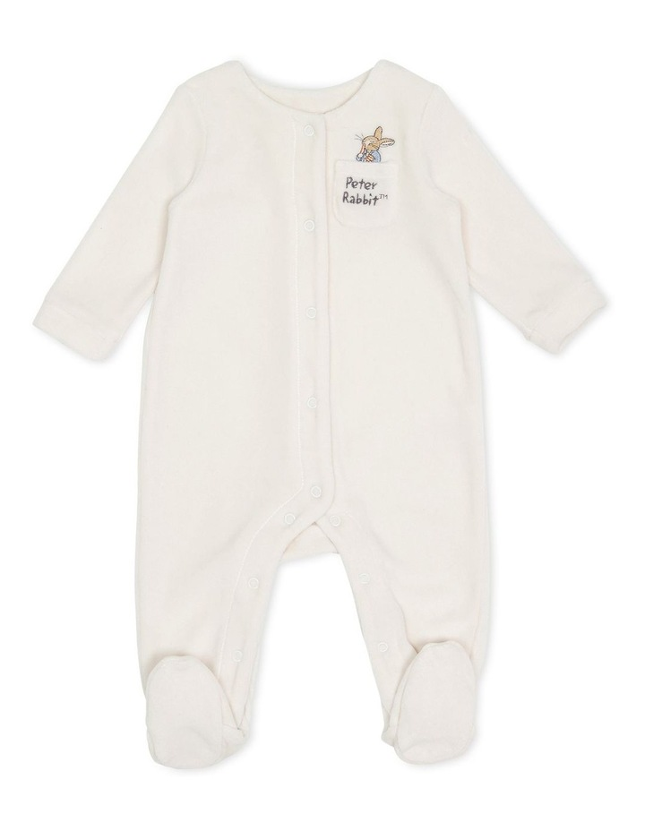 Velour Snap Front Coverall Sand image 1