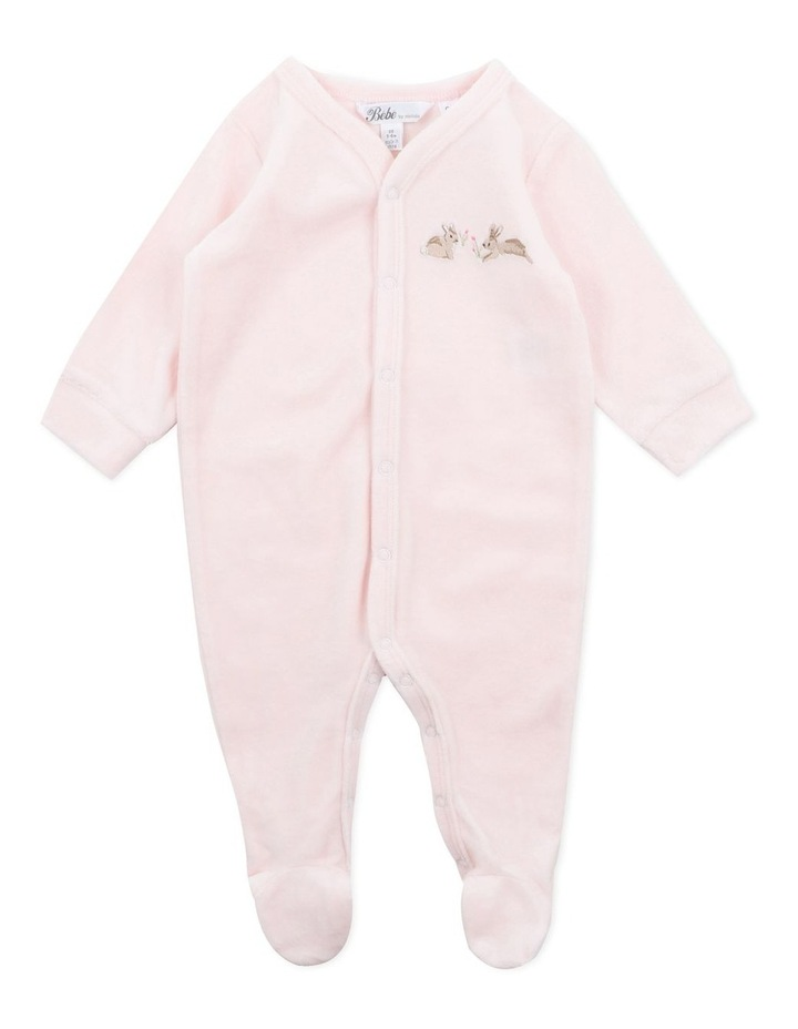 Velour Pale Pink Long Sleeve Romper image 1