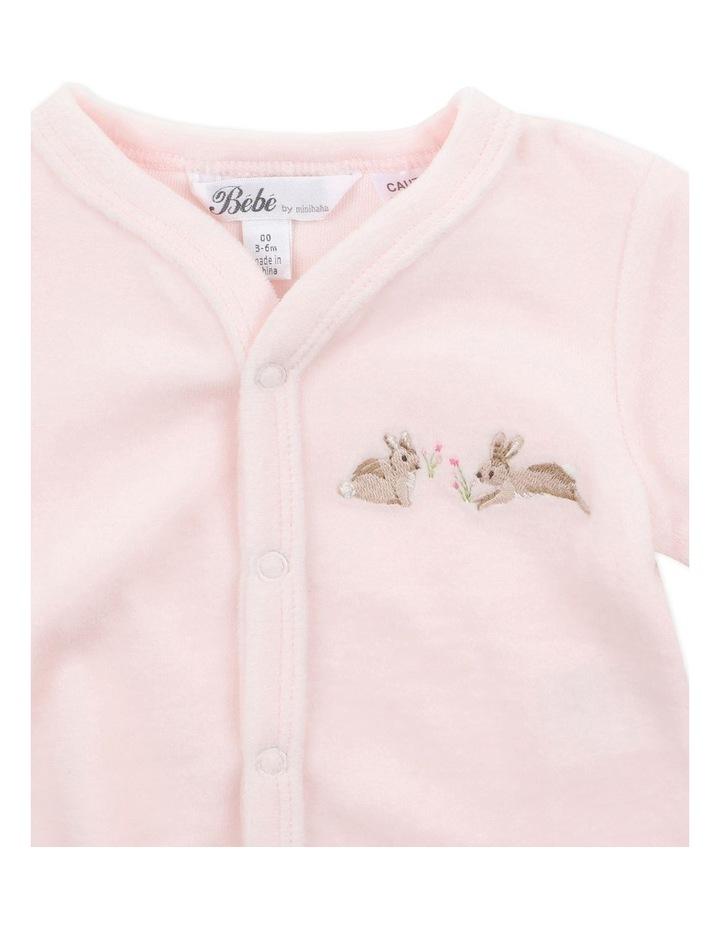 Velour Pale Pink Long Sleeve Romper image 3