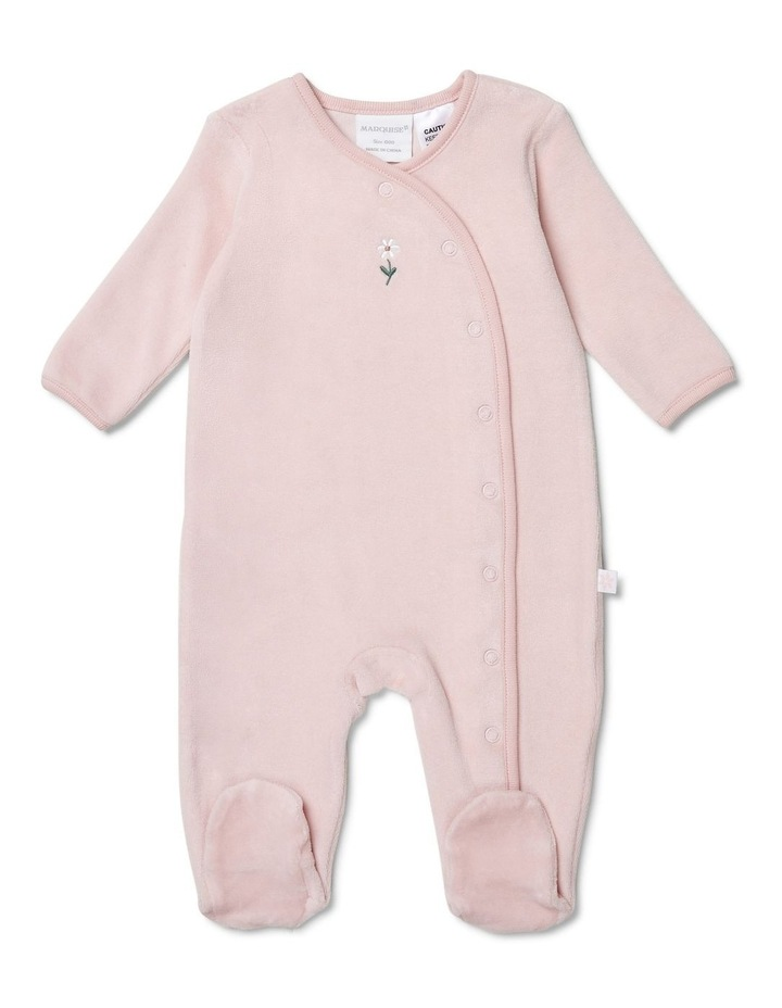 Pink Velour Studsuit Flower image 1