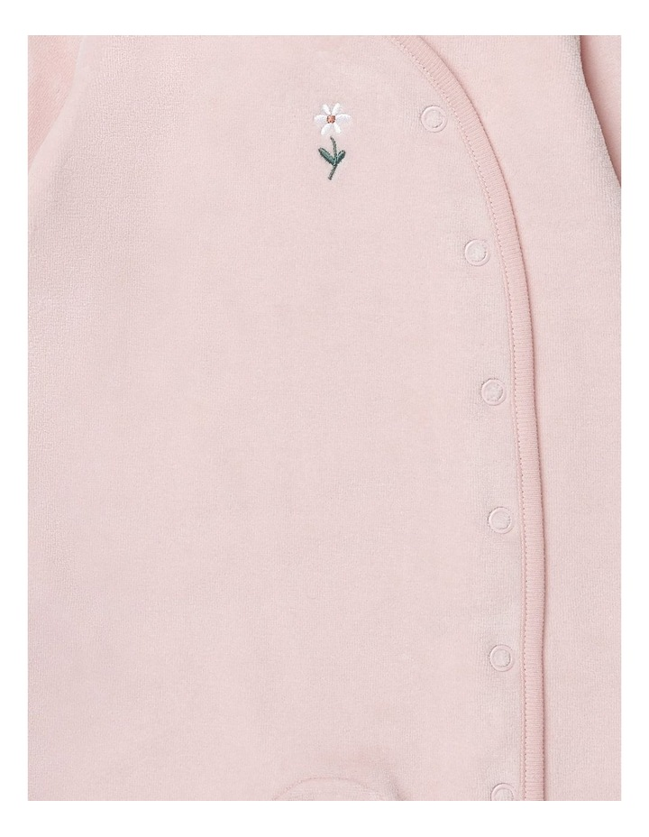 Pink Velour Studsuit Flower image 2
