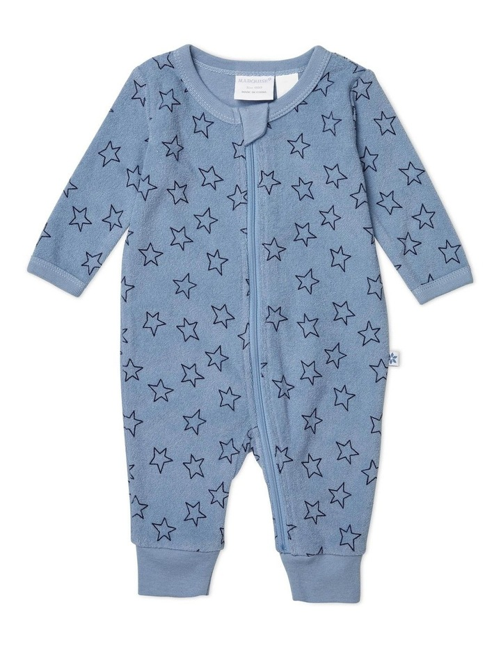Blue Terry Towelling Zipsuit Star image 1
