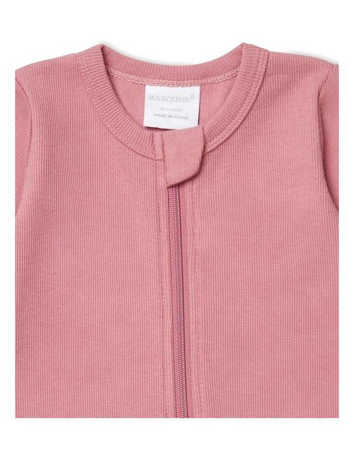 Dark Rose Pink Rib Zipsuit image 2