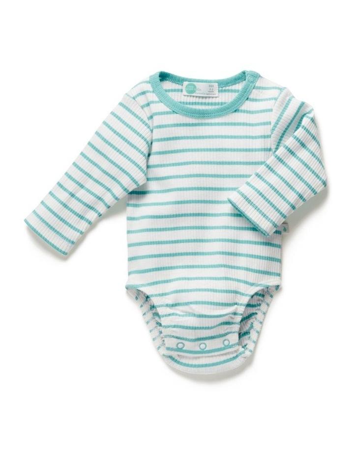 Stripe Long Sleeve Rib Bodysuit Ocean image 1