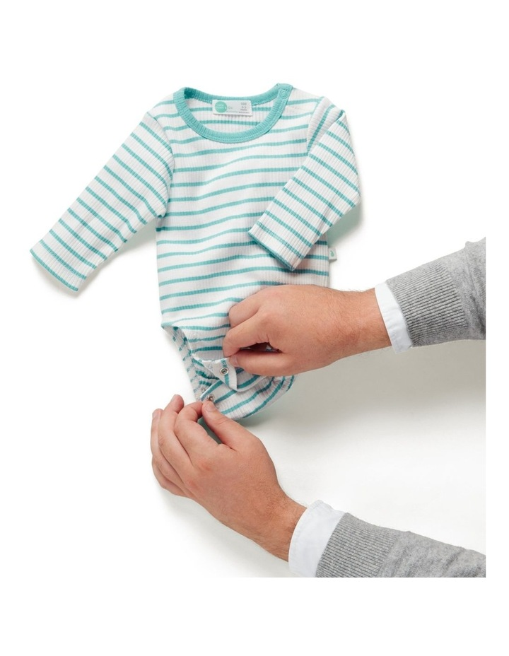 Stripe Long Sleeve Rib Bodysuit Ocean image 2