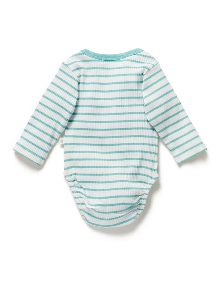Stripe Long Sleeve Rib Bodysuit Ocean image 3