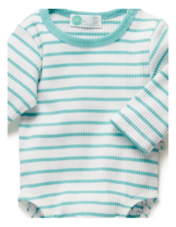 Stripe Long Sleeve Rib Bodysuit Ocean image 4