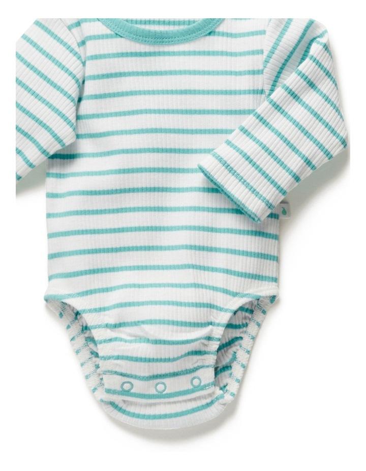 Stripe Long Sleeve Rib Bodysuit Ocean image 5