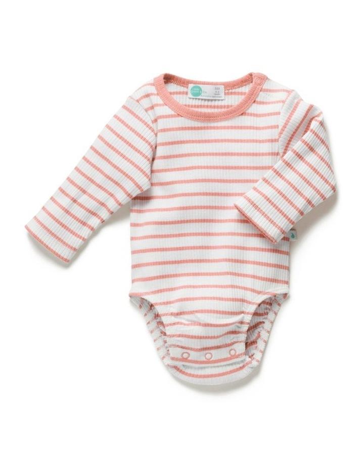 Stripe Rib Long Sleeve Bodysuit Peach image 1