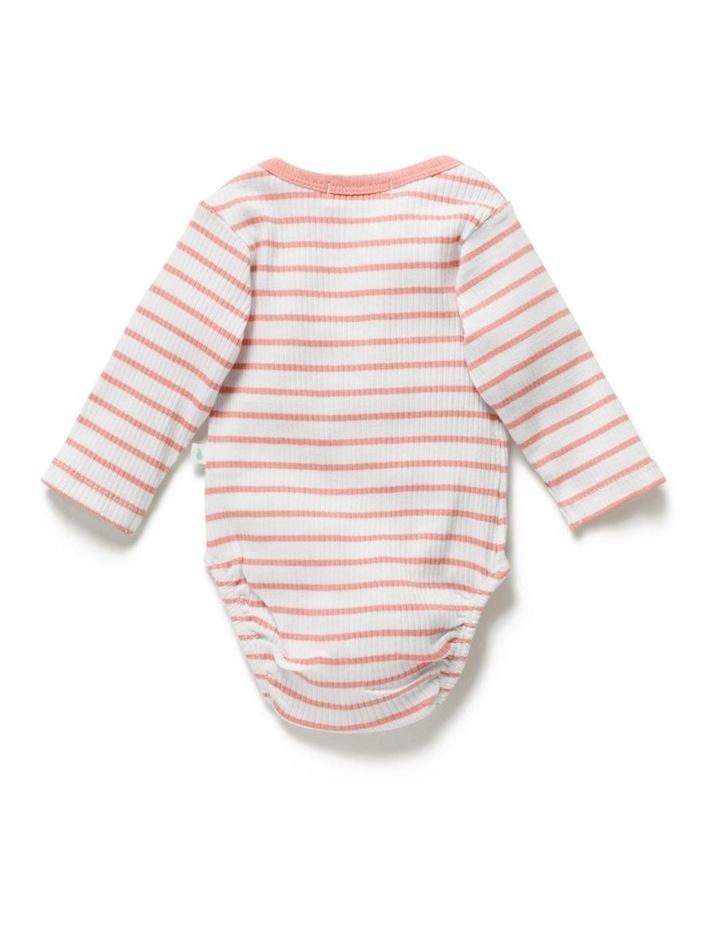 Stripe Rib Long Sleeve Bodysuit Peach image 3