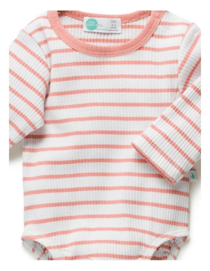 Stripe Rib Long Sleeve Bodysuit Peach image 4