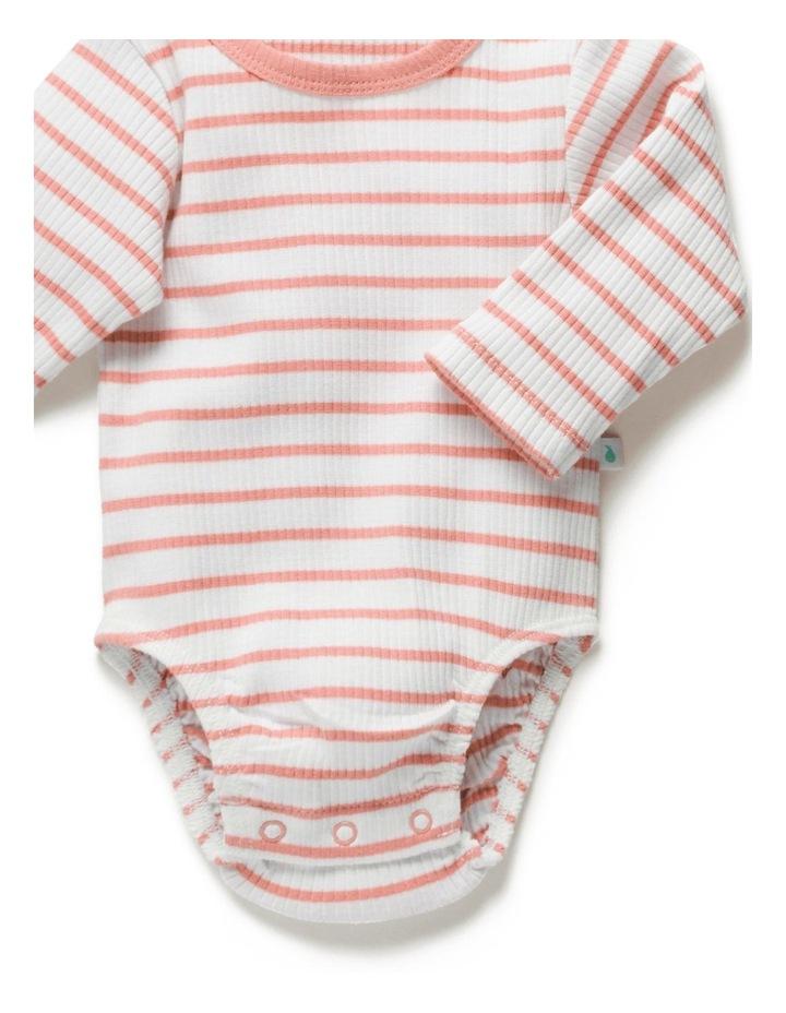 Stripe Rib Long Sleeve Bodysuit Peach image 5