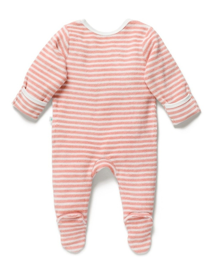 Stripe Terry Towelling Zip Onesie Sorbet image 3