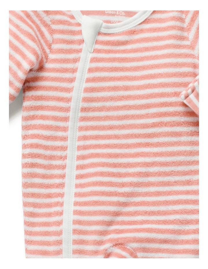 Stripe Terry Towelling Zip Onesie Sorbet image 4