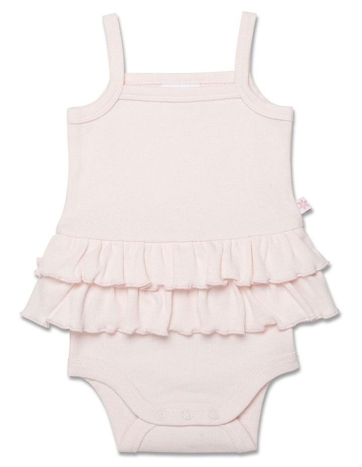 Rib Bodysuit with Straps & Frill Waist Pink image 1