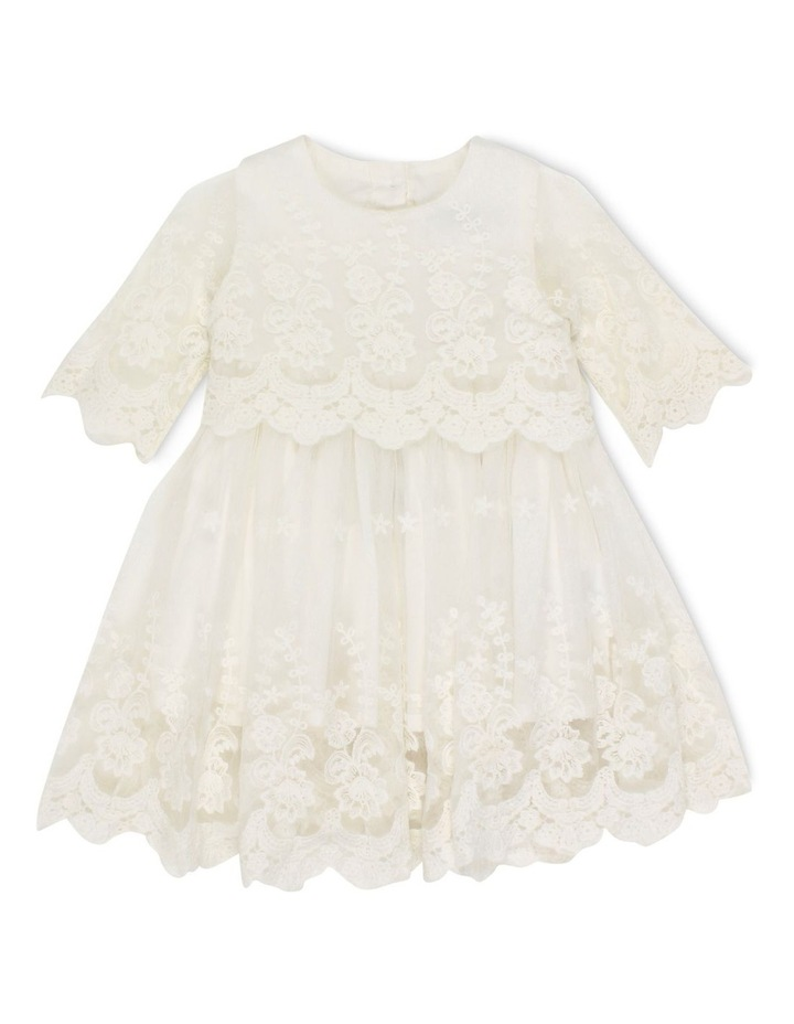 Short Sleeve Lace Overlay Dress image 1