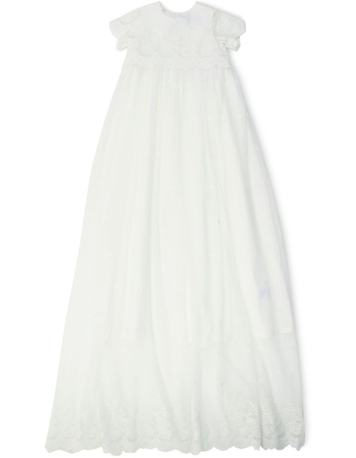 Short Sleeve Lace X Long Christening Gown image 1