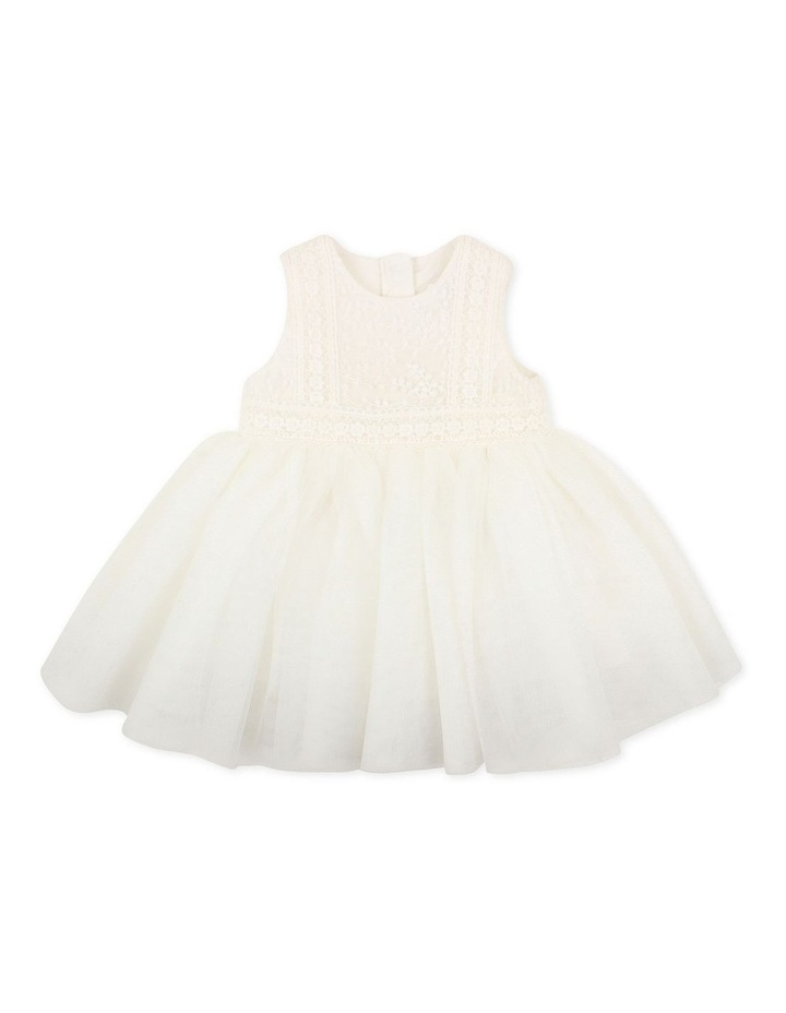 Embroidered Organza Tulle Dress Ivory image 1