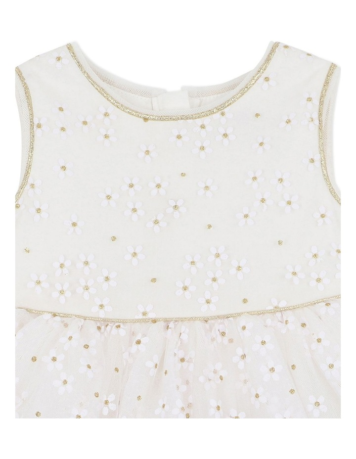 Trim Daisy Print Dress Gold image 3