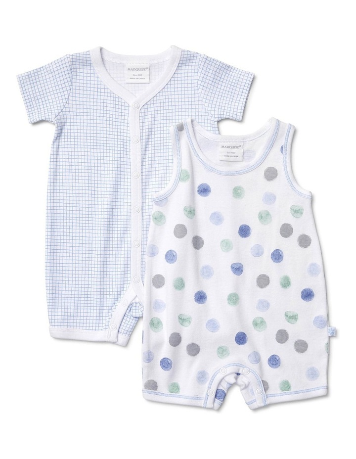 Boys 2 Pack Romper Combo Blocks/Dots image 1