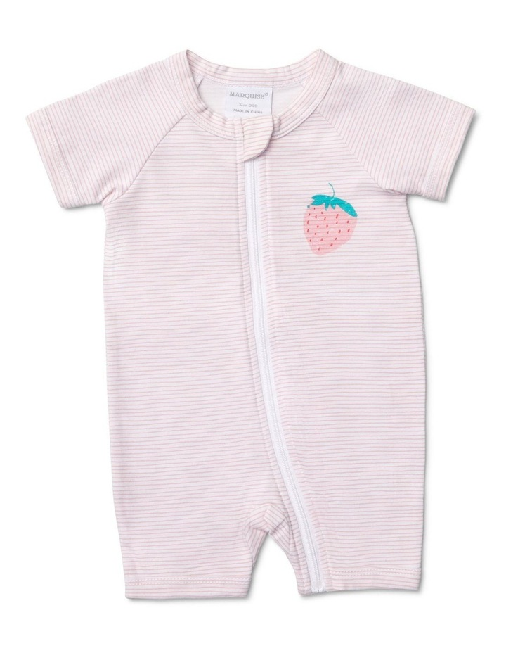 Girls Romper Stripes With Strawberry image 1