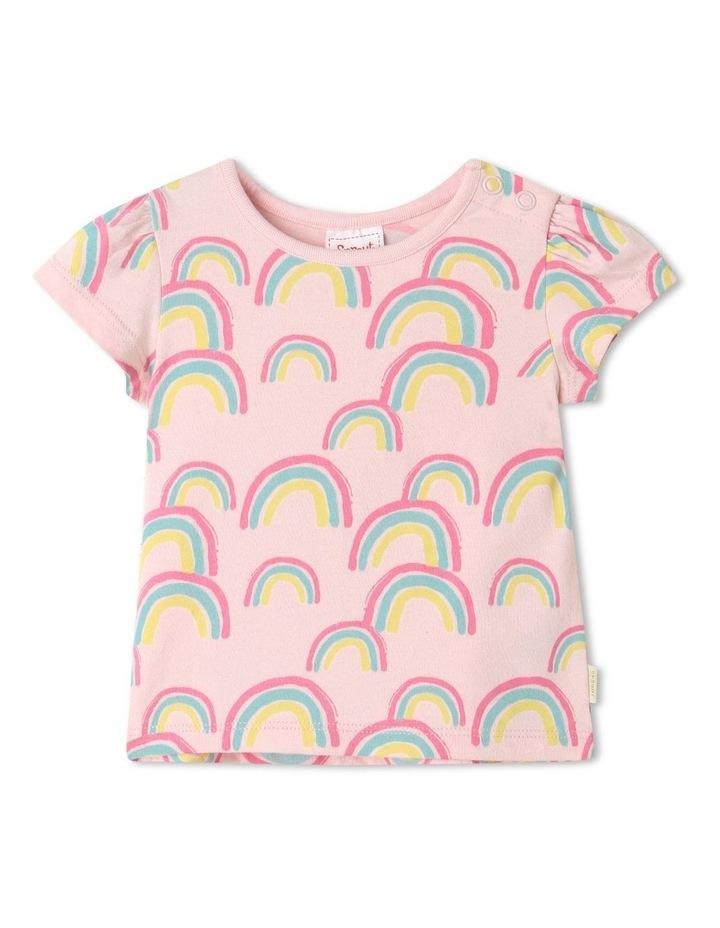 Essential Rainbow Cap Sleeve T-Shirt Pale Pink image 1