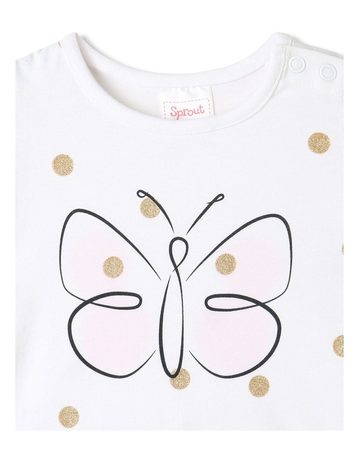 Essential Butterfly Cap Sleeve T-Shirt White image 3