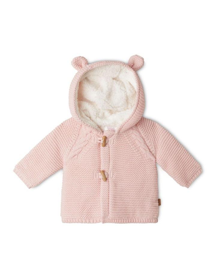Sherpa Lined Knit Cardigan Light Pink image 1