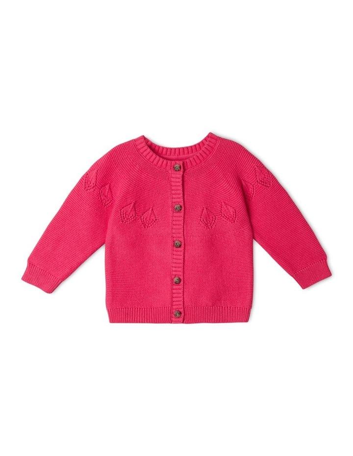Ina Pointelle Knit Cardigan Raspberry image 1