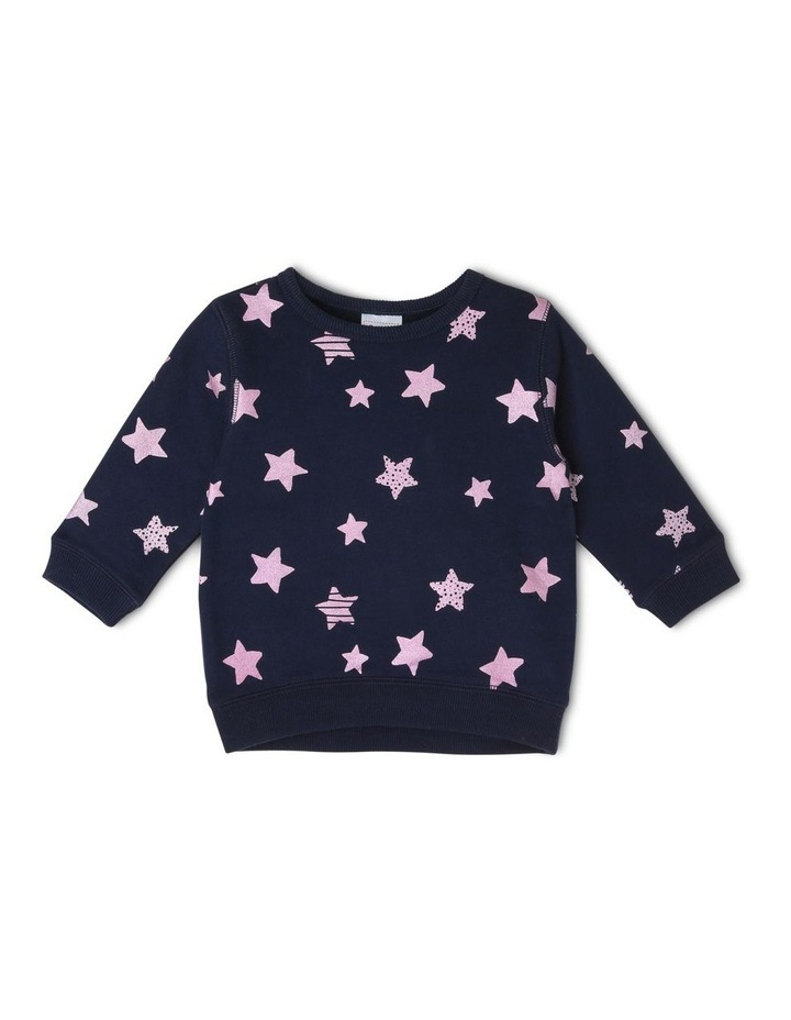 Essential Navy Sweat-Top with Star Print image 1