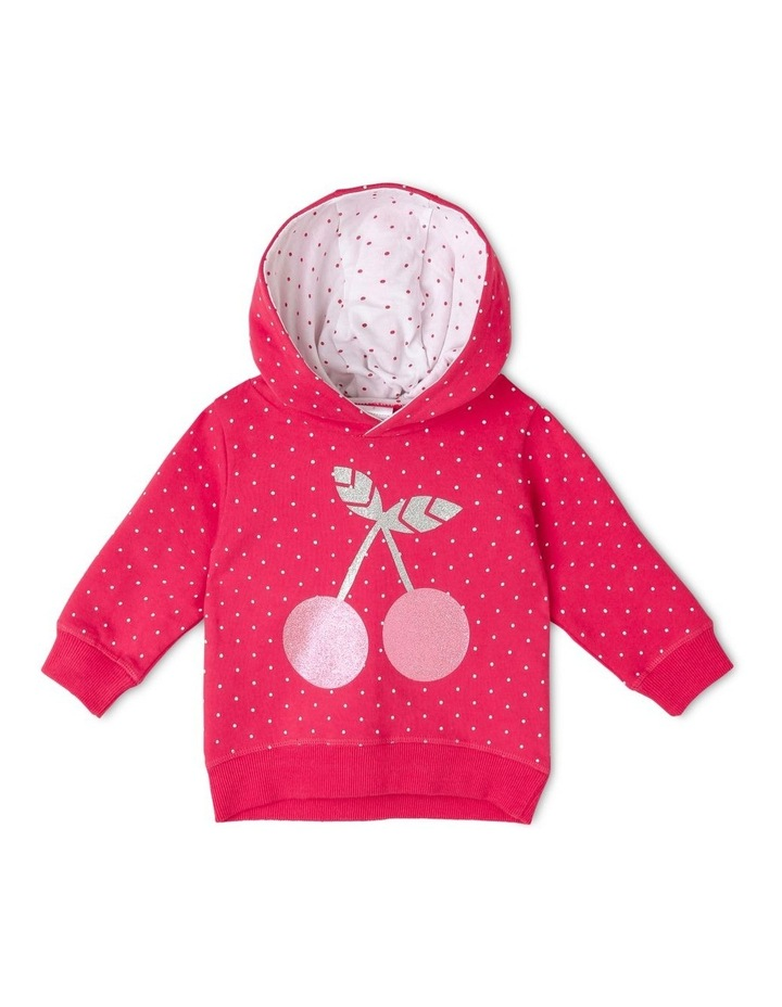 Essential Raspberry Hoodie with Cherry Print image 1