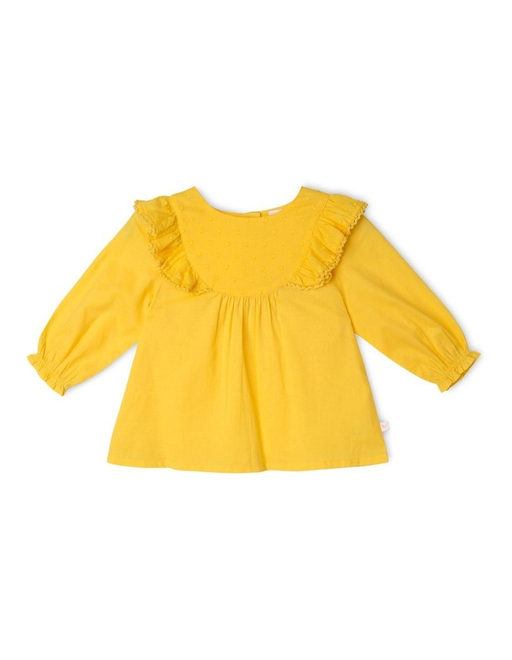 Woven Bib Top with Frill Shoulders image 1