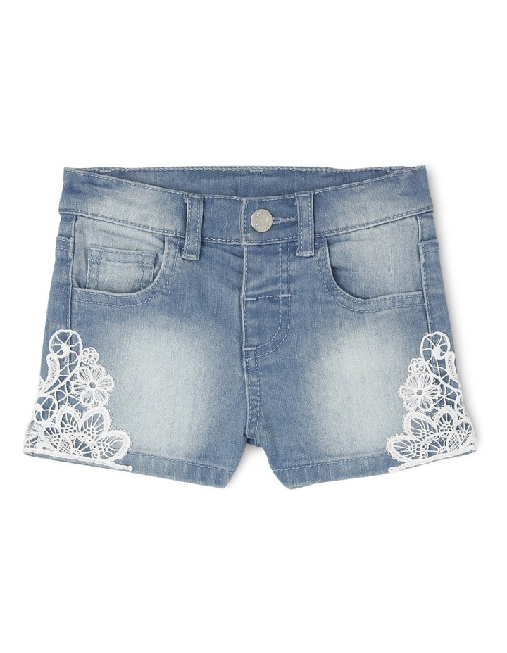 Denim Short with Lace image 1