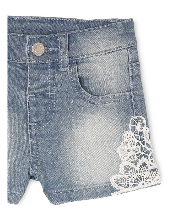 Denim Short with Lace image 3
