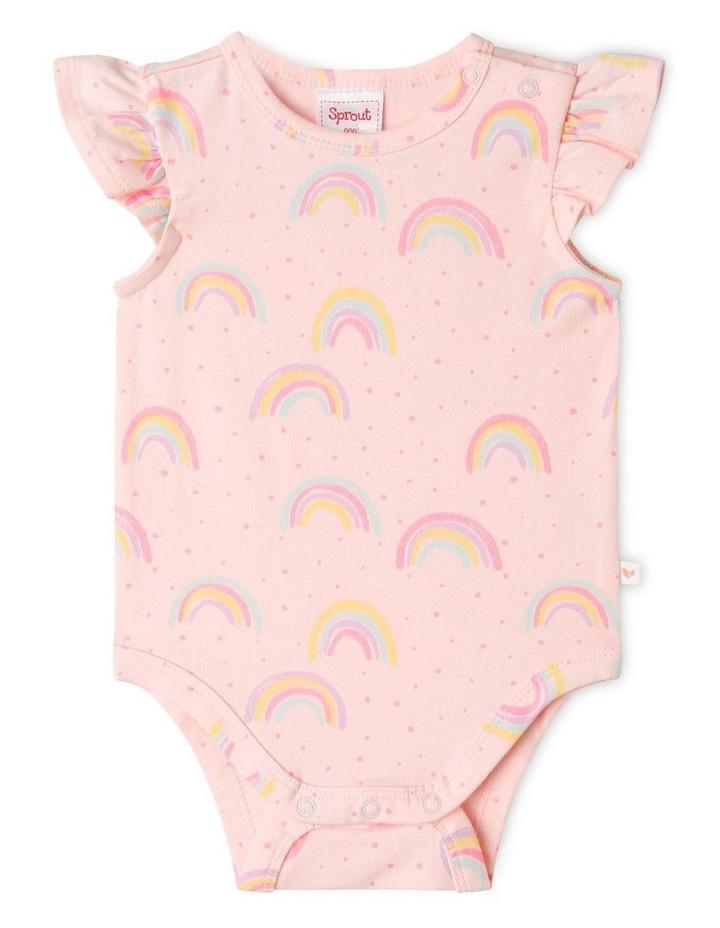 Organic Essential Rainbow Bodysuit Pale Pink image 1