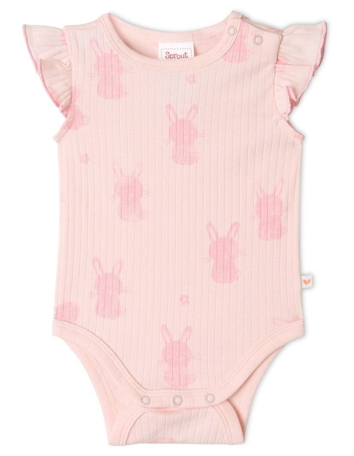 Organic Essential Rib Bunny Bodysuit Pale Pink image 1