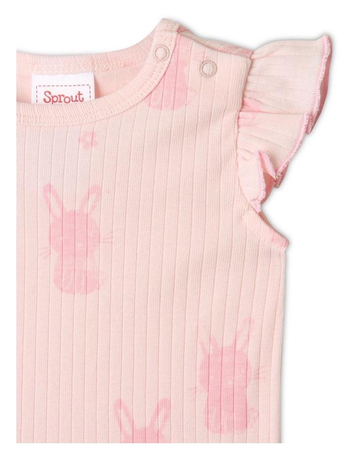 Organic Essential Rib Bunny Bodysuit Pale Pink image 2