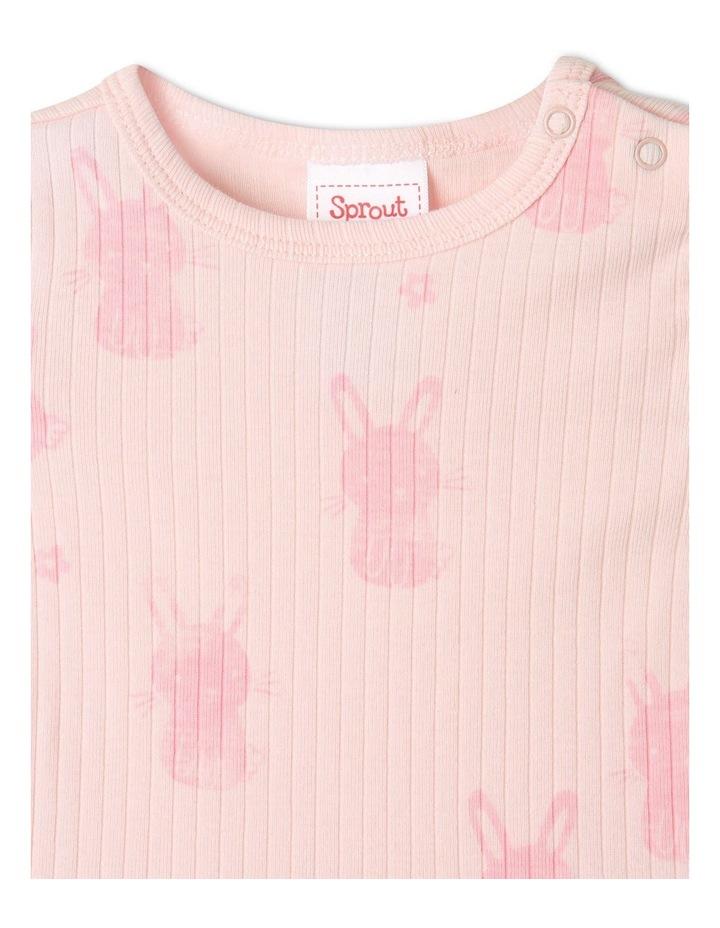 Organic Essential Rib Bunny Bodysuit Pale Pink image 3