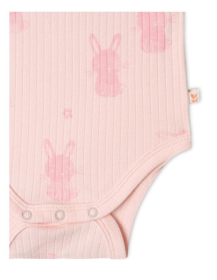 Organic Essential Rib Bunny Bodysuit Pale Pink image 4