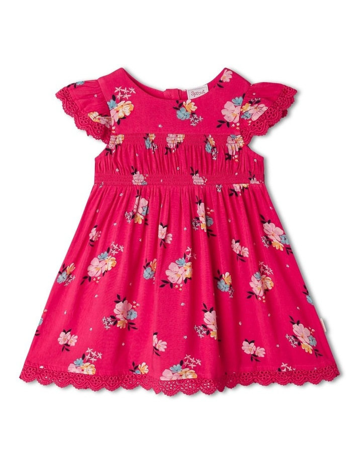 Woven Floral Shirred Dress image 1