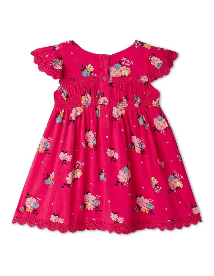 Woven Floral Shirred Dress image 3