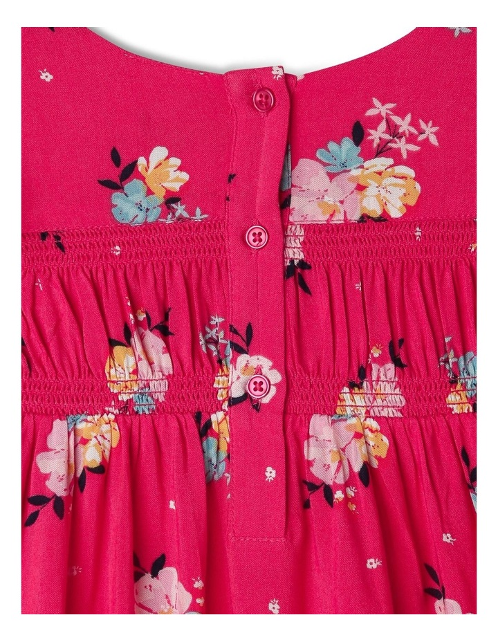 Woven Floral Shirred Dress image 4
