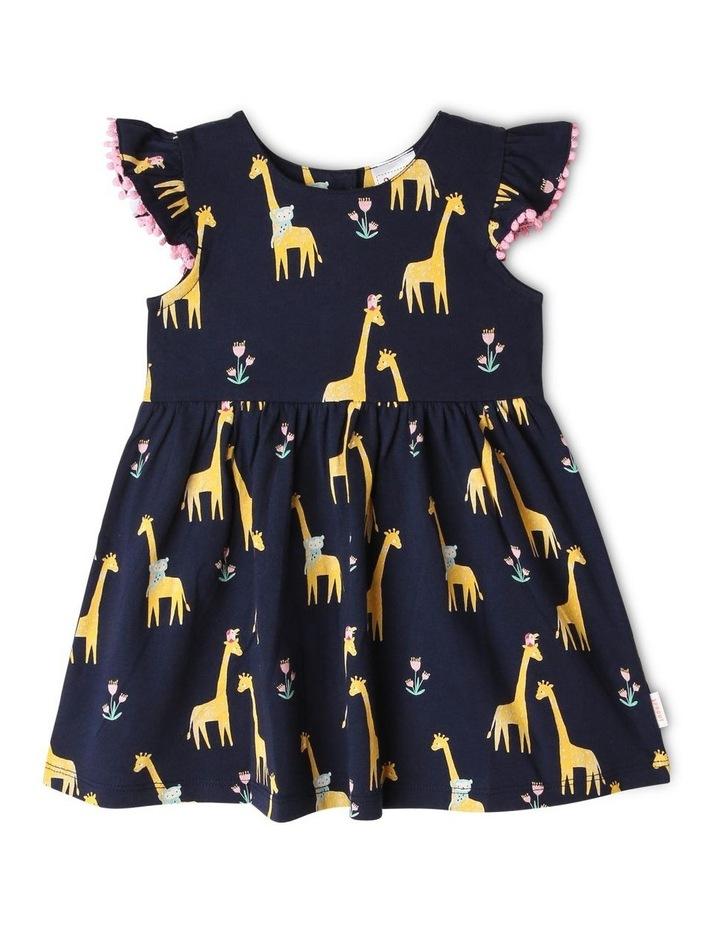 Flutter-Sleeve Giraffe Print Dress with Pompom Trim image 1