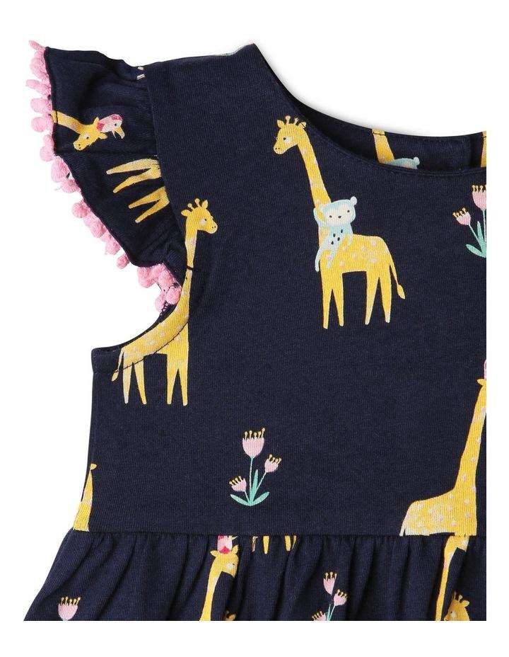Flutter-Sleeve Giraffe Print Dress with Pompom Trim image 2