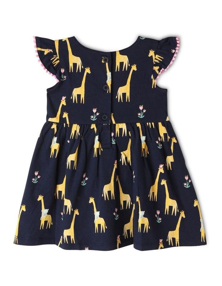 Flutter-Sleeve Giraffe Print Dress with Pompom Trim image 3